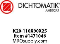 Dichtomatik K20-110X90X25 PISTON SEAL FIVE PIECE PISTON SEAL NBR/POLYESTERELASTOMER/POM METRIC