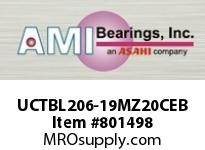 AMI UCTBL206-19MZ20CEB 1-3/16 KANIGEN SET SCREW BLACK TB P OPN/CLS COV SINGLE ROW BALL BEARING