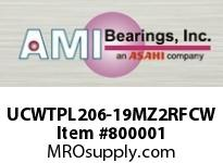 AMI UCWTPL206-19MZ2RFCW 1-3/16 ZINC SET SCREW RF WHITE TAKE OPEN COVERS SINGLE ROW BALL BEARING