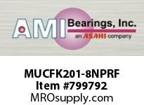 AMI MUCFK201-8NPRF 1/2 STAINLESS SET SCREW RF NICKEL 3 BRACKET SINGLE ROW BALL BEARING