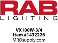 RAB VX100W-3/4 VAPORPROOF 100 CEILING 4 BOX 3/4 WHITE WITH GLASS GLOBE