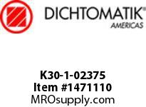 Dichtomatik K30-1-02375 PISTON SEAL PTFE SQUARE CAP PISTON SEAL WITH NBR 70 DURO O-RING INCH