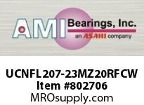 AMI UCNFL207-23MZ20RFCW 1-7/16 KANIGEN SET SCREW RF WHITE 2 FLANGE OPN COV SINGLE ROW BALL BEARING