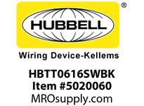 HBL_WDK HBTT0616SWBK WBPRFRM RADI T 6Hx16W BLACKSTLWLL
