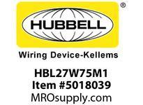 HBL_WDK HBL27W75M1 WT CONN L15-20R 3P 20A/250V IN BOX