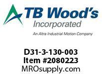 TBWOODS D31-3-130-003 HUB D31 3.3765/3.375 W/1SS
