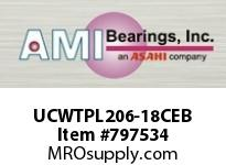 AMI UCWTPL206-18CEB 1-1/8 WIDE SET SCREW BLACK TAKE-UP SINGLE ROW BALL BEARING