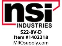 NSI S22-8V-D 22-18 AWG VINYL INSULATED SPADE #8 STUD - DISPLAY PACK