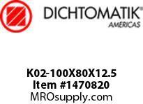 Dichtomatik K02-100X80X12.5 PISTON SEAL PISTON SEAL NBR IMPREGNATED FABRIC METRIC