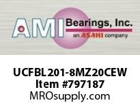 AMI UCFBL201-8MZ20CEW 1/2 KANIGEN SET SCREW WHITE 3-BOLT COV SINGLE ROW BALL BEARING