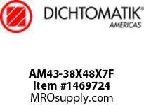 Dichtomatik AM43-38X48X7F WIPER METAL CLAD D STYLE FKM 90 DURO WIPER METRIC
