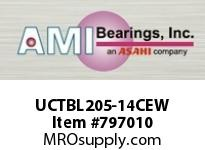 AMI UCTBL205-14CEW 7/8 WIDE SET SCREW WHITE TB PLW BLK SINGLE ROW BALL BEARING