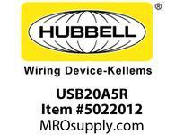 HBL_WDK USB20A5R RCPT DUP 20A 125V 5A 5V USB PORT A R