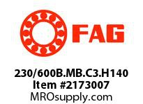FAG 230/600B.MB.C3.H140 DOUBLE ROW SPHERICAL ROLLER BEARING