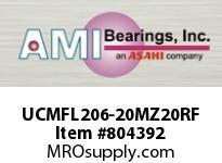 AMI UCMFL206-20MZ20RF 1-1/4 KANIGEN SET SCREW RF STAINLES 2-BOLT FLANGE SINGLE ROW BALL BEARING