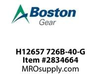 "BOSTON GEAR H12657 726B-40-G  Worm Gear Speed Reducer, 40:1 Ratio, 3/4"" Solid Shaft Input, 1-1/8"" Solid Shaft Output. Horizontal base, worm over."