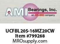 AMI UCFBL205-16MZ20CW 1 KANIGEN SET SCREW WHITE 3-BOLT FL COV SINGLE ROW BALL BEARING