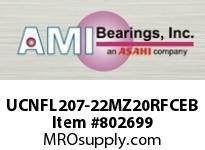 AMI UCNFL207-22MZ20RFCEB 1-3/8 KANIGEN SET SCREW RF BLACK 2- FLANGE CLS COV SINGLE ROW BALL BEARING