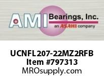 AMI UCNFL207-22MZ2RFB 1-3/8 ZINC SET SCREW RF BLACK 2-BOL SINGLE ROW BALL BEARING