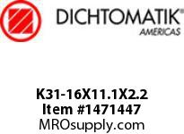 Dichtomatik K31-16X11.1X2.2 PISTON SEAL 40 PERCENT BRONZE FILLED PTFE STEP CUT PISTON SEAL WITH NBR 70 O-RING METRIC