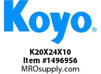 Koyo Bearing K20X24X10 NEEDLE ROLLER BEARING CAGE AND ROLLER ASSEMBLY
