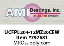 AMI UCFPL204-12MZ20CEW 3/4 KANIGEN SET SCREW WHITE 4-BOLT COV SINGLE ROW BALL BEARING