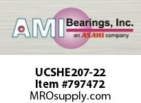 AMI UCSHE207-22 1-3/8 WIDE SET SCREW TAPPED BASE PI SINGLE ROW BALL BEARING