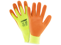 West Chester HVY710HSNF/S Orange Nitrile foam palm coating 10g Hi vis yellow HPPE shell. EN388 = 4542 ANSI 4 = 1576 gms