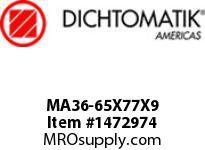 Dichtomatik MA36-65X77X9 SYMMETRICAL SEAL POLYURETHANE 92 DURO SYMMETRICAL U-CUP METRIC