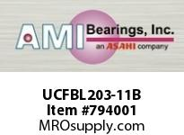 AMI UCFBL203-11B 11/16 WIDE SET SCREW BLACK 3-BOLT F SINGLE ROW BALL BEARING