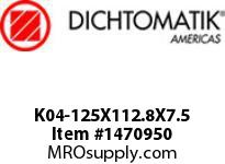 Dichtomatik K04-125X112.8X7.5 PISTON SEAL 40 PERCENT BRONZE FILLED PTFE PISTON SEAL WITH NBR 70 O-RING METRIC