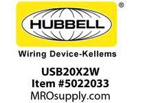 HBL_WDK USB20X2W RECEP DUP 20A 125V3.8A 5V USB PORTWH
