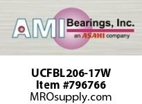 AMI UCFBL206-17W 1-1/16 WIDE SET SCREW WHITE 3-BOLT SINGLE ROW BALL BEARING