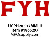 FYH UCPH203 17MMLII PILLOW BLOCK-NORMAL DUTY SETSCREW LOCKING-DOUBLE SEAL