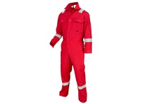 MCR DC1RR66T Deluxe FR Contractor Coverall 88% Cotton/12% Nylon Reflective Material Red 66T