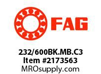 FAG 232/600BK.MB.C3 DOUBLE ROW SPHERICAL ROLLER BEARING
