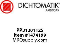 Dichtomatik PP31201125 SYMMETRICAL SEAL POLYURETHANE 92 DURO WITH NBR 70 O-RING STANDARD LOADED U-CUP INCH
