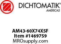 Dichtomatik AM43-60X74X5F WIPER METAL CLAD D STYLE FKM 90 DURO WIPER METRIC