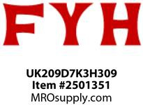 FYH UK209D7K3H309 40MM FREE-SPIN TAPER-BORE INS. W/ H309 ADAPTER