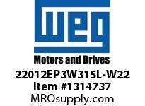 WEG 22012EP3W315L-W22 220KW 1200 3 60/50 460 IEC-CI