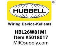 HBL_WDK HBL26W81M1 PLUG W/T3PY 20A 120/208VL21-20PIN BOX