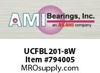 AMI UCFBL201-8W 1/2 WIDE SET SCREW WHITE 3-BOLT FLA ROW BALL BEARING
