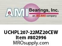 AMI UCHPL207-22MZ20CEW 1-3/8 KANIGEN SET SCREW WHITE HANGE OPN/CLS COVERS SINGLE ROW BALL BEARING