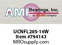 AMI UCNFL205-14W 7/8 WIDE SET SCREW WHITE 2-BOLT FLA ROW BALL BEARING