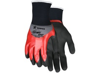 MCR N96783XXL Ninja BNF 18 Gauge Gray Nylon/Spandex Shell Red Over-the-Knuckle Nitrile Dip Second Coating BNF Palm and F
